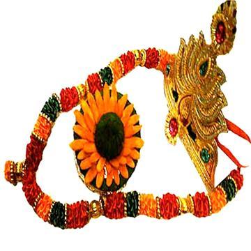 Multicolour  Garland Hamper with Crown and Pooja Modak