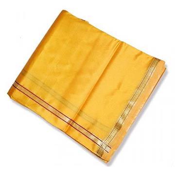 Cotton Silk Dhoti with Shawl - (Yellow)