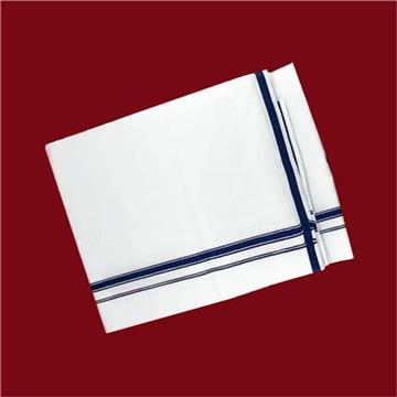 Dhoti -White with Blue Small Border
