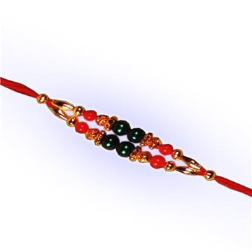 Green Bead Double Dori Rakhi